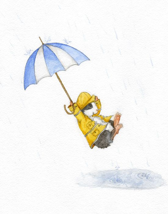 Guinea Pig in a Raincoat with Umbrella Print by WhenGuineaPigsFly