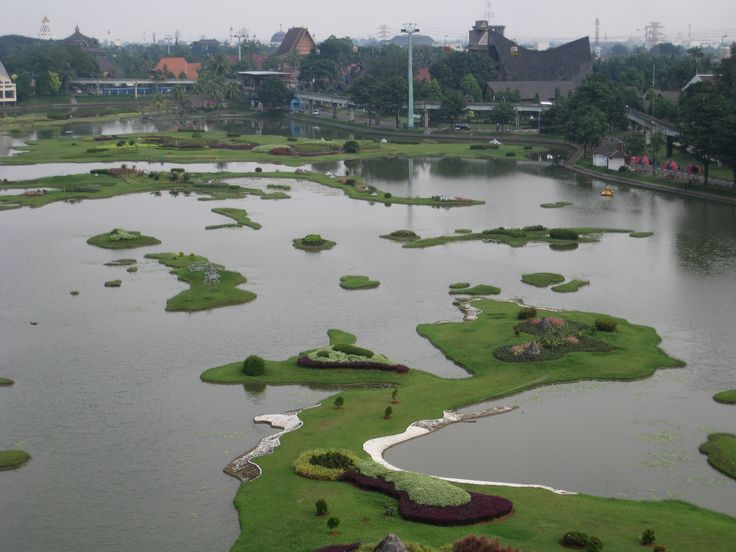 Miniature of the indonesian archipelago in the centre lake viewed from cable car, Jakarta