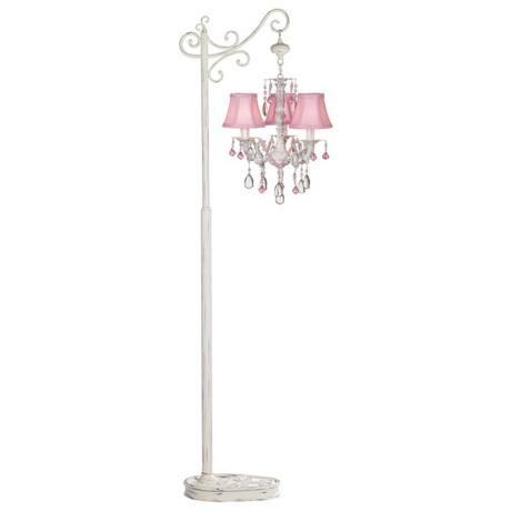 Pretty In Pink Three Light Floor Stand Chandelier Lampsplus