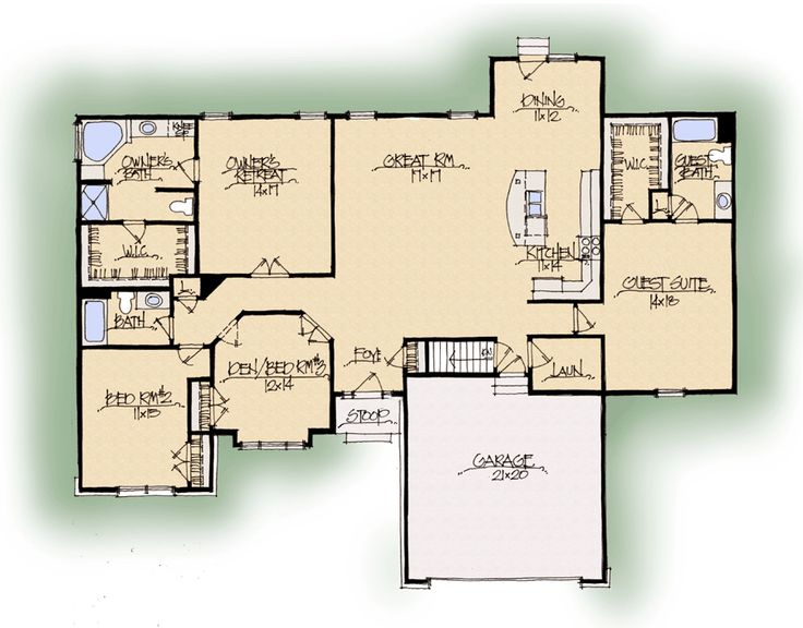 33 best dual master floor plans images on pinterest for House plans with guest suite