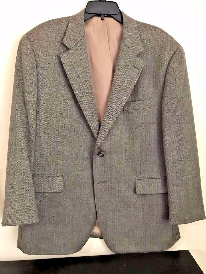 Mens Brown herringbone IZOD blazer jacket sport coat Suit coat 100% wool 44S #Towncraft #TwoButton