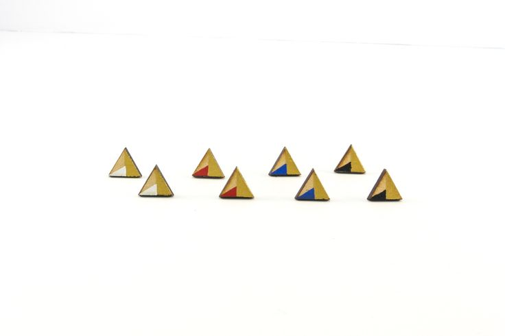 Wooden Stud Earrings | Handmade Painted Triangle Gold Edition Geometric Shape Earrings