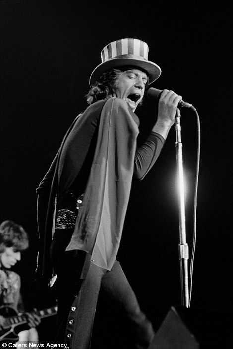 Mick Jagger is pictured at the Oakland Coliseum Arena in 1969