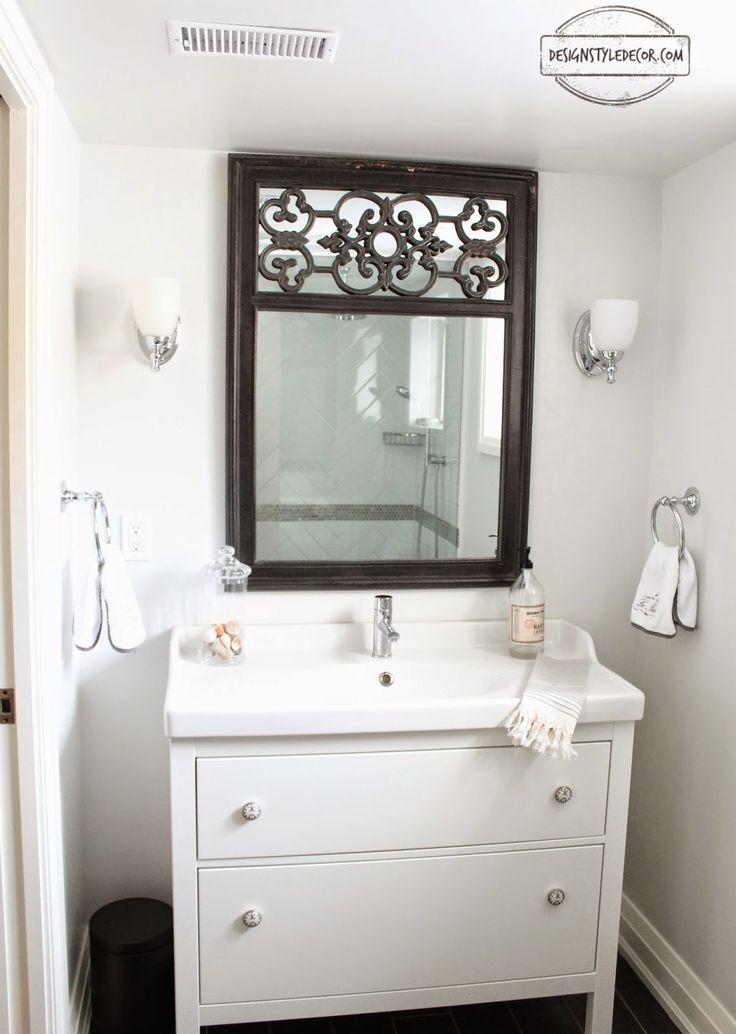 black and white bathroom, ikea hemnes vanity