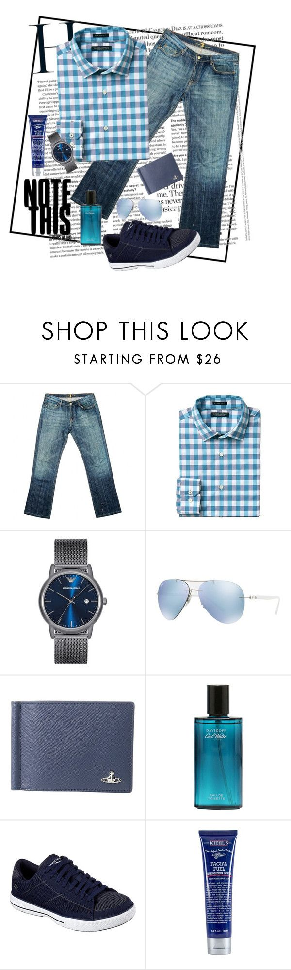 """My First Men's Fashion"" by blondemommy ❤ liked on Polyvore featuring 7 For All Mankind, Banana Republic, Emporio Armani, Ray-Ban, Vivienne Westwood, Skechers, Kiehl's, men's fashion and menswear"