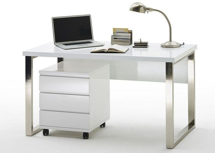 Design Schreibtisch Weiß Hochglanz lackiert 4275. Buy now at https://www.moebel-wohnbar.de/design-schreibtisch-weiss-hochglanz-lackiert-4275.html