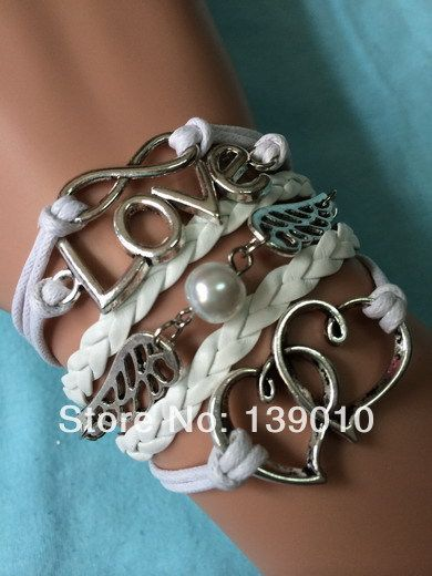 Free Shipping!6PCS/LOT!Antique Silver White Leather Heart Wing Bead LOVE Infinity Bracelet Unique Women Costume Jewelry S-359