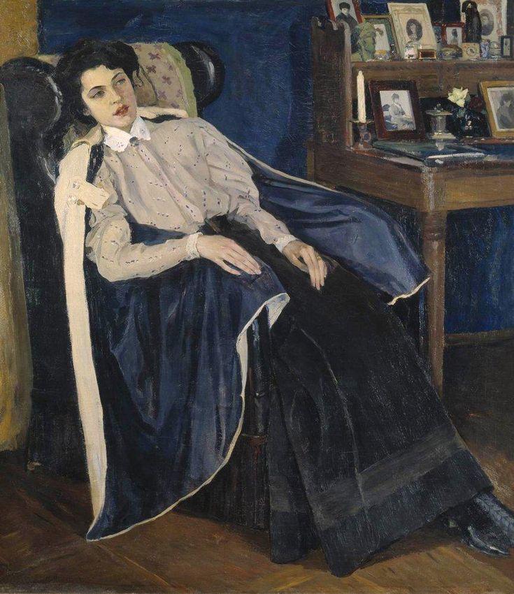 Mikhail Nesterov - Portrait of M. Nesterova, Daughter of the Artist, 1905