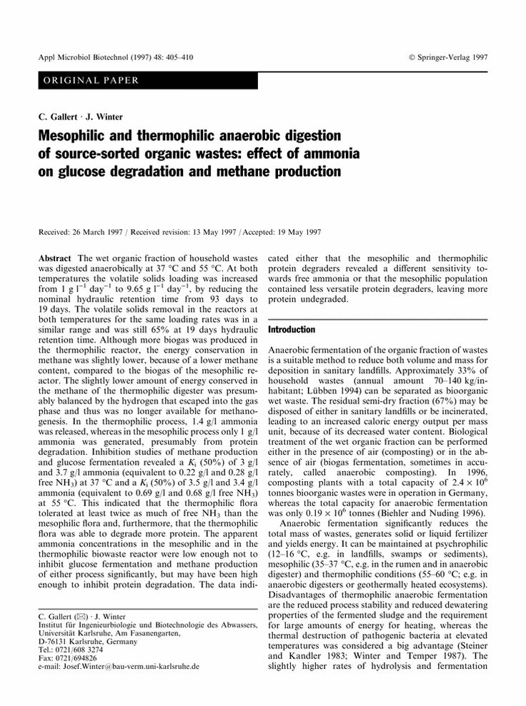Mesophilic and thermophilic anaerobic digestion of source-sorted organic wastes: effect of ammonia on glucose degradation and methane production - Springer