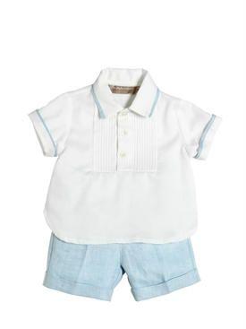 la stupenderia - bambini-neonato - completi - camicia in cotone oxford e shorts in lino