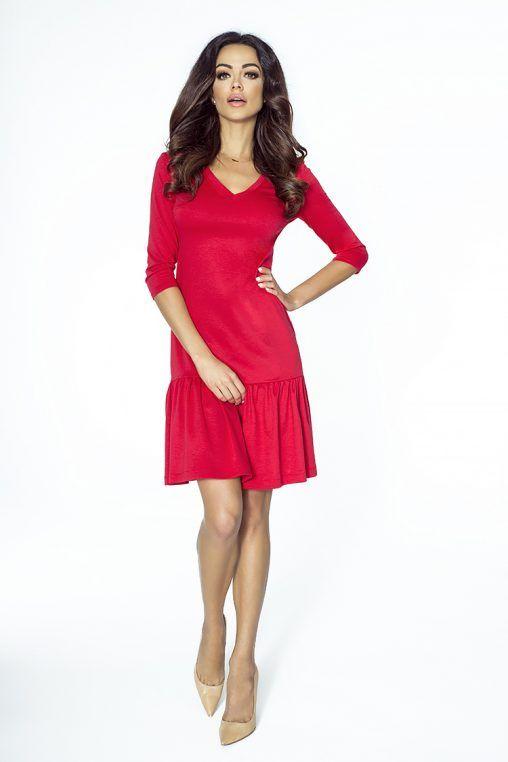 Czerwona sukienka z falbanką dekolt derek fashion4u.pl