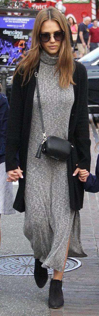 Who made  Jessica Alba's gray ribbed turtleneck dress, handbag, and key chain?