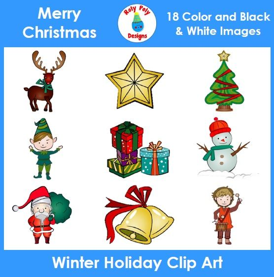Happy Holidays!   This Christmas/Winter Holiday Clip Art set contains 9 color images and the same 9 in B&W (line art) for a total of 18 images. Each image is saved in JPEG and PNG format for your convenience.