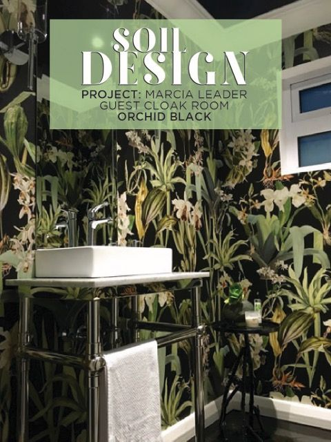 Marcia Leader created an exquisite new look to her guest cloak room with the Soil Designs 'Orchids Black'. For more stylish projects by Marcia, check out her website at www.stylinginteriors.co.za