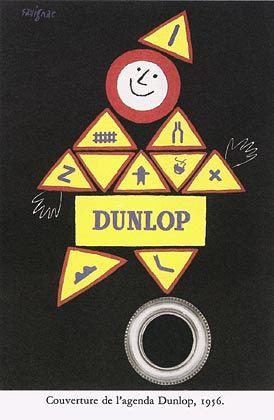 ¤ Raymond Savignac : Couverture de l'agenda Dunlop, 1956. Cover of the 1956 Dunlop calendar