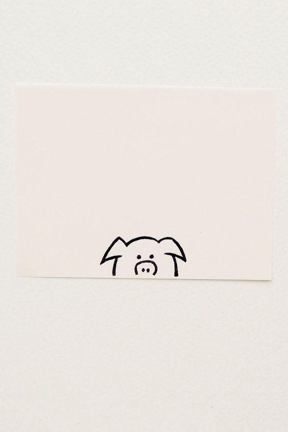 Curious piglet peek-a-boo stamp - Non-mounted hand carved simple rubber stamp - funny animal  stamp