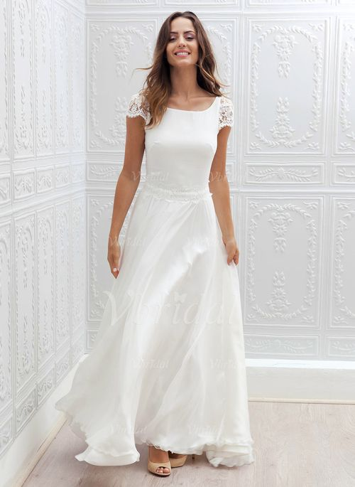 Wedding Dresses - $146.71 - A-Line/Princess Scoop Neck Sweep Train Chiffon Lace Wedding Dress (0025059921)