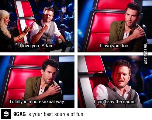 Adam Levine and Blake Shelton on the voice....so funny