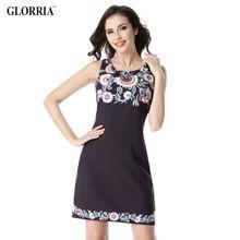 Glorria feminino verão impressão vestidos mulheres elegante casual vestido de verão túnica roupas festa black dress vestidos de trabalho de escritório de negócios(China (Mainland))