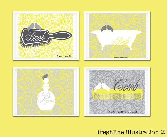 Yellow and Gray Art  Love Bird Bathroom Art Prints  by Freshline, $54.95