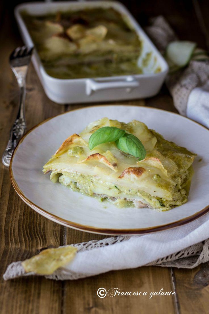 Sformato di patate e zucchine al pesto di basilico