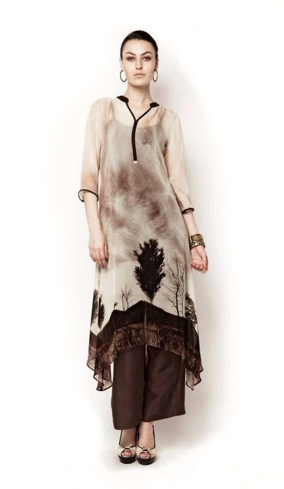 Stylish White Floral #Designer #Kurti