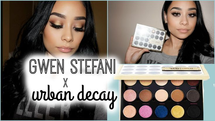 Gwen Stefani x Urban Decay Palette | Long Wearing Makeup Tutorial starts 1 minute in, ends with punk to smoke lower, punk and 1987 on lids