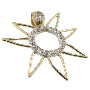 9ct Yellow & White Gold Diamond Set Sun Pendant. Handmade by Sam Drummond at Cameron Jewellery