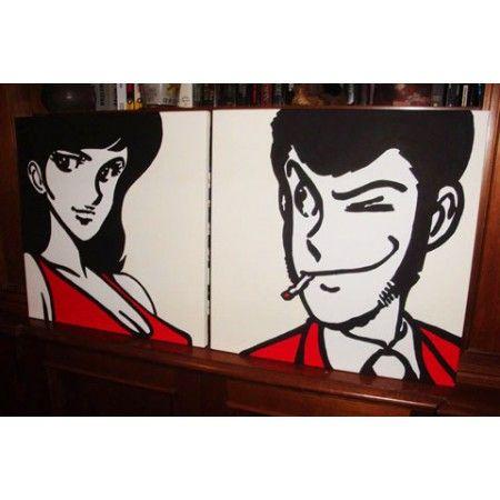 """Un coppia di quadri per una coppia del fumetto. Lupin e Margot in due bellissimi quadri di formato quadrato disponibili in diverse misure. In questo caso lo sfondo è """"giallo di Napoli"""". ovvero un bianco con leggera tendenza al giallo."""