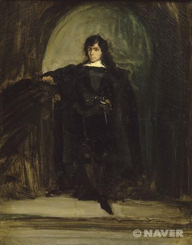 제목 : 햄릿 옷을 입은 페르디낭 외젠 들라크루아의 초상(자화상) / 이전의 자화상 등은 마치 증명사진을 찍는 듯한 포즈, 혹은 작업실의 모습을 배경으로 그린 것에 비해 햄릿의 분장을 하고 찍은 이 자화상은 참신하다.