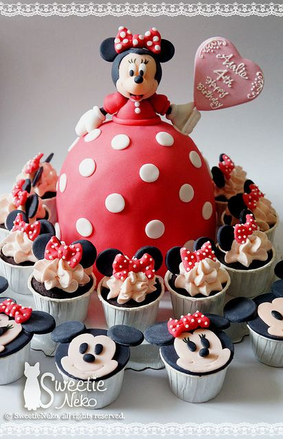 mickey and minnie!  fondant cake & cupcakes  http://www.facebook.com/SweetieNeko