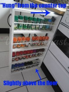 diy sliding spice rack, diy, kitchen cabinets, kitchen design, woodworking projects, Self explanatory