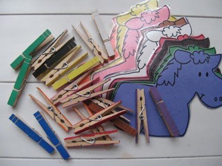 Why have I never thought to do different colored animals before with the clothespin matching activity?