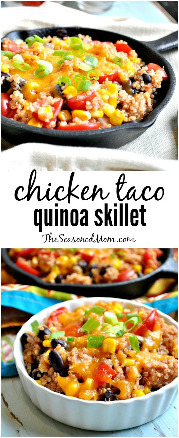 CHICKEN TACO QUINOA SKILLET is an easy, healthy, and family-friendly way to use up leftovers for dinner tonight!