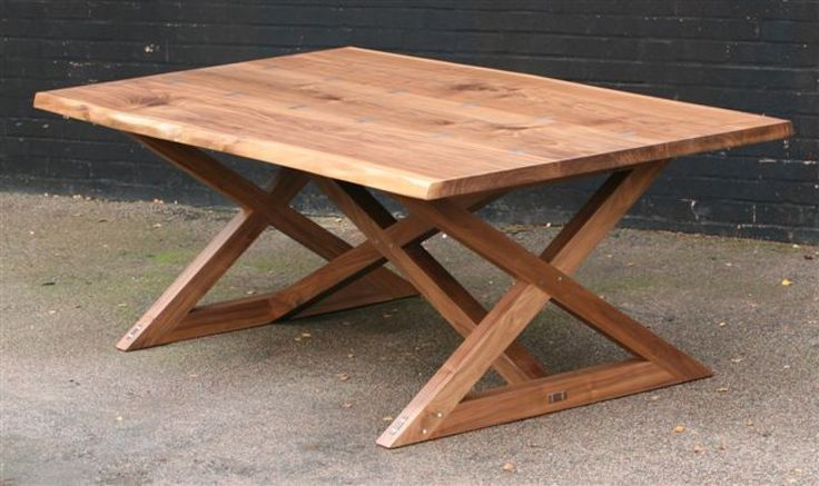 Walnut x frame Refectory Table in Oak furniture in surrey