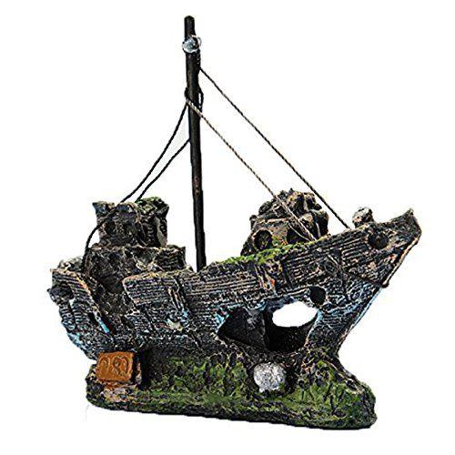 LIAMTU Resin Fishing Shipwreck Boat Aquarium Ornament Plastic Decoration Plant for Fish Tank Accessories