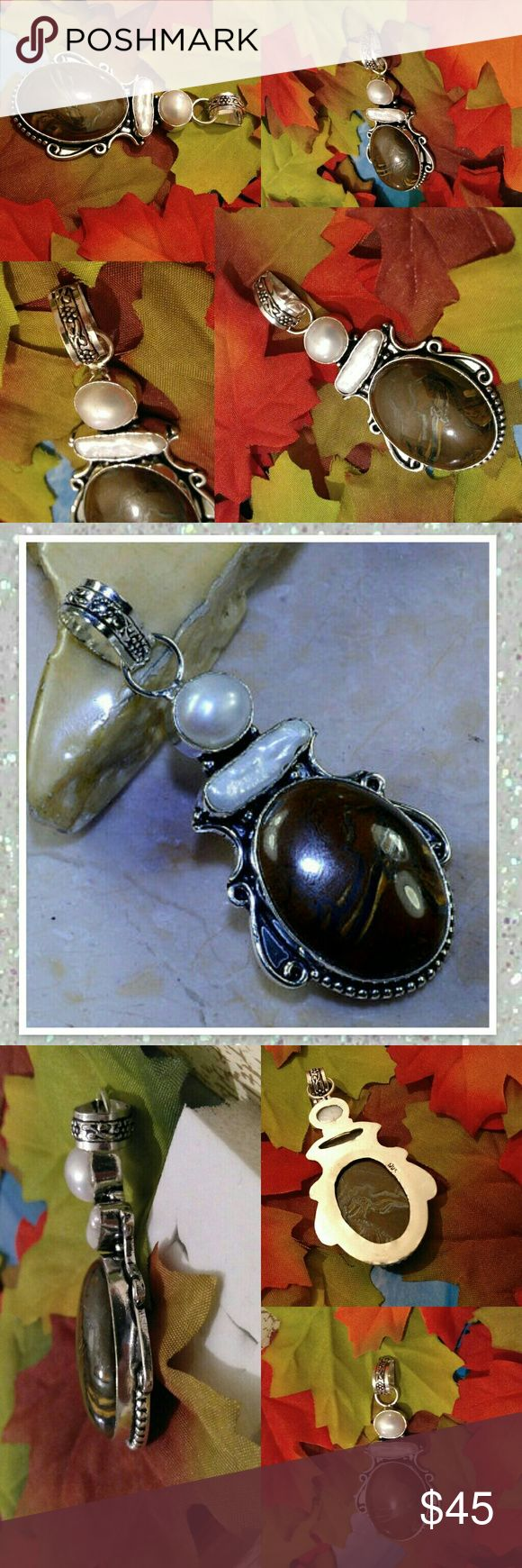 Iron Tigers Eye BIWA n Fresh Water Pearl Pendant Beautiful n lucky Iron Tigers Eye BIWA N Fresh Water Petal  925 Stamped Sterling Silver Pendant 2 ¾ Length Lucky Charm  Handmade 🎁 Gift box included🎁  ⚜Check out the rest of my closet⚜ 🎁 Save $ on Holiday Gifts🎁  💯 Brand New N High Quality  💯 WHAT U C IS WHAT YOU'LL GET ♡Engaged after 3 yrs Long distance We r Raising $ ourselves 2 pay Visa Fees, plane tickets N wedding Plz Follow to help us reach our goal Thank u so much Jewelry