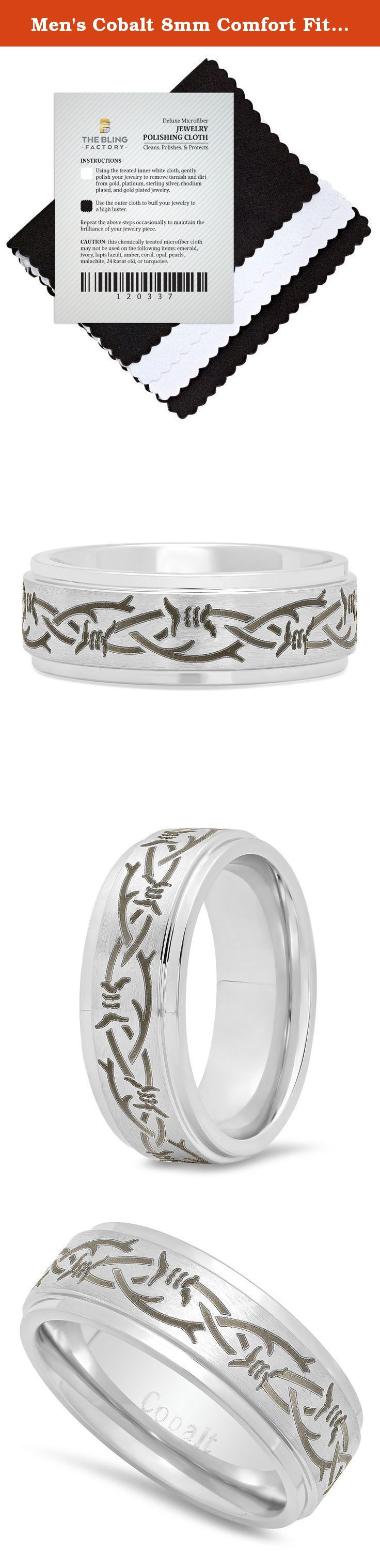 Men's Cobalt 8mm Comfort Fit Ring with Engraved Barbed Wire Design, Size 10. This men's comfort fit band is composed of durable cobalt metal with a high polished finish. A brushed center displays a laser engraved black barbed wire design framed by polished step edges. This scratch-resistant 8mm ring emits a reflective shine.