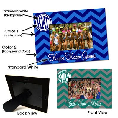 Sorority Chevron Picture Frame $29.95 #Sorority #Accessories #Chevron // AH I WANT THIS FOR OPA!!! <3