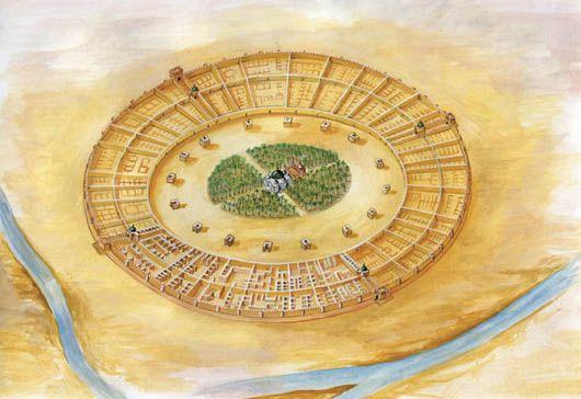 Reconstrucción de la ciudad circular que construyó el califa Al-Mansur en Bagdad, S.VIII. Se hallaba en la orilla occidental del Tigris.