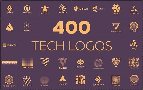 400 technological logos by airunreal on Creative Market