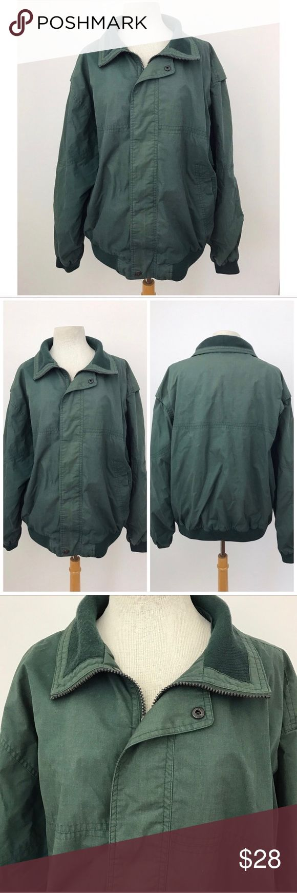 "Vintage Bomber Jacket Faded Green Great vintage bomber jacket ! Zip and button up. Lots of fading, but otherwise good vintage condition.  Size large  Sleeve length 35"" Armpit to armpit 25"" Length 27""  **all of my vintage listings are in good vintage condition unless noted otherwise. good vintage condition means there still may be flaws due to their age. I thoroughly inspect all my listings and I will state any major damage**  Photographs are part of the description, please look over them…"