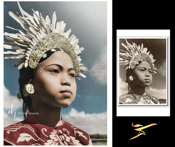 Balinese dancing girl, old postcard, 1930s