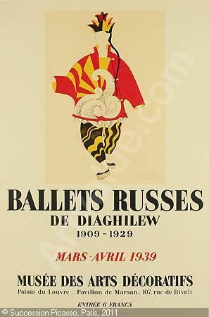 Ballets Russes - Poster by Picasso for a show of artworks (scenery, costumes, etc.) from the Ballets Russe during its historic 1909 -1929 seasons.