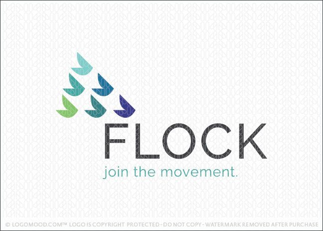 Logo for sale: Clean, simple and modern logo design for sale representing a flock of birds. Simple geometrical shapes are used to create the subtle impression of a group of flying birds.