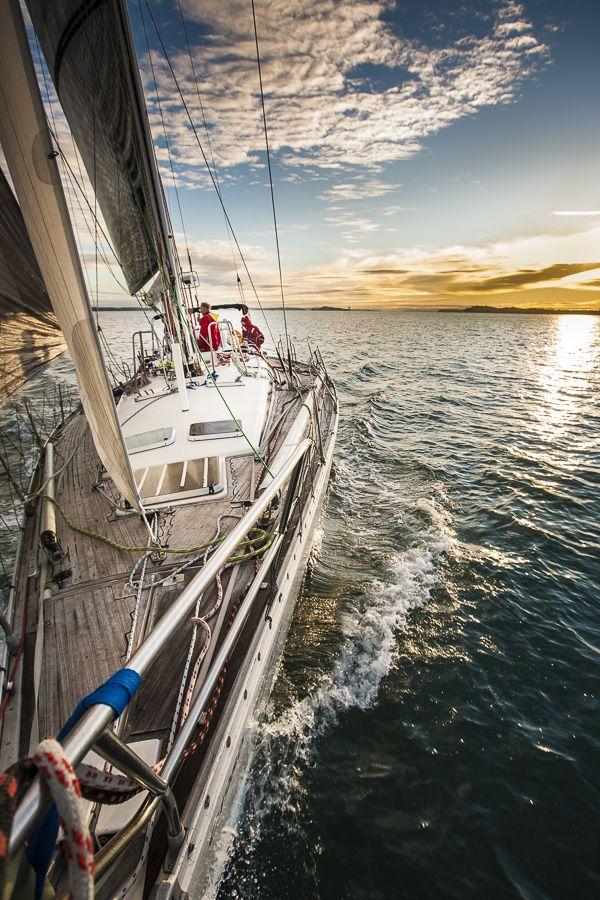 Sunrise over the Huraki Gulf on board Iolanthe II