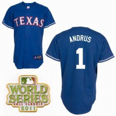 Texas Rangers 1 Elvis Andrus Blue 2011 World Series Fall Classic