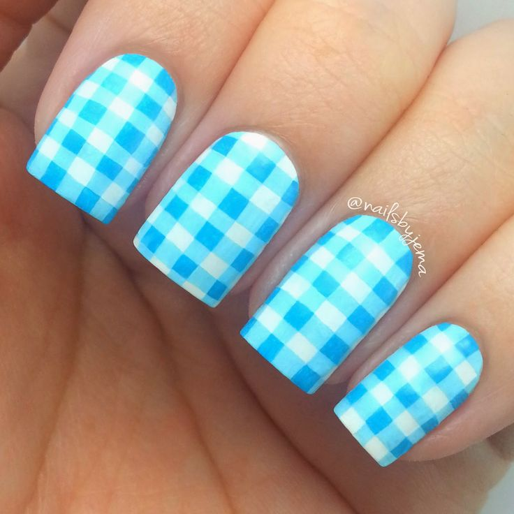 Adorable gingham nails 10 best Gingham nails