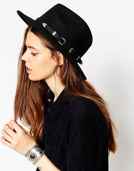 ASOS   Фетровая шляпа с двумя пряжками в стиле вестерн ASOS - Новая улучшенная посадка