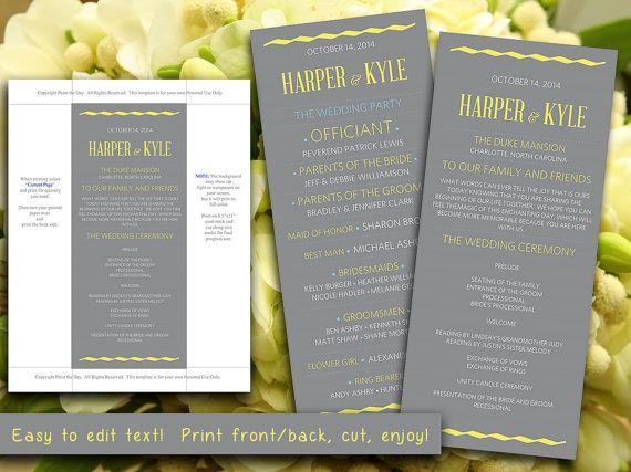 DIY Wedding Program Template Gray Yellow Blue - Wave Modern Typography Wedding Ceremony Program Microsoft Word - Printable Wedding Program by PaintTheDayDesigns, $10.00